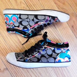 Coach Black and Rainbow Sneakers Sz 7